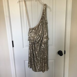 Halston sparkle champagne dress